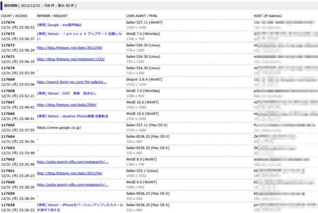 アクセス解析のログ記録
