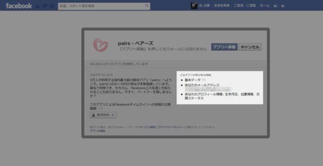 Facebookアプリの個人情報取得確認画面