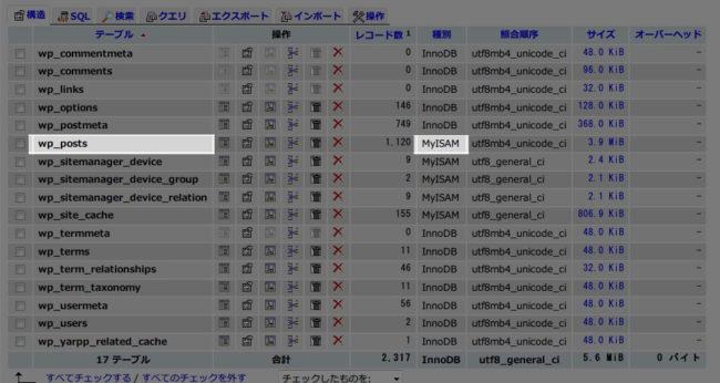 wp_postsテーブルのストレージエンジン